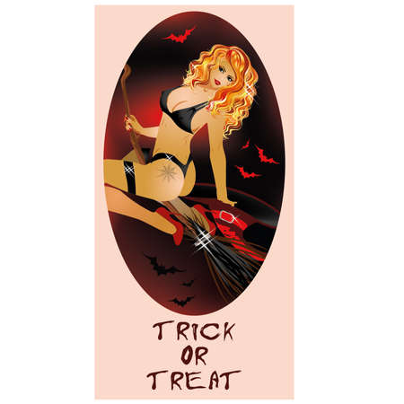 Trick or Treat Halloween card Sexal witch Vector