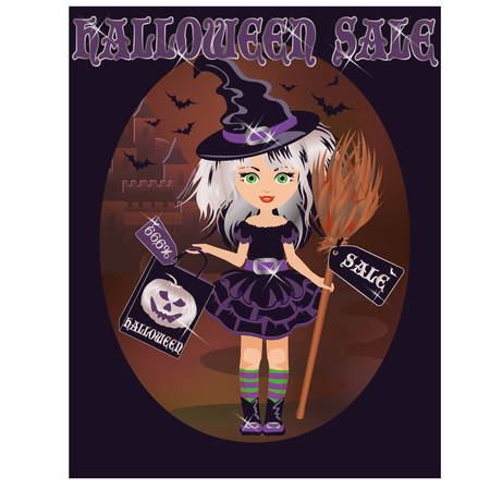 Halloween sale card with little witch Vector
