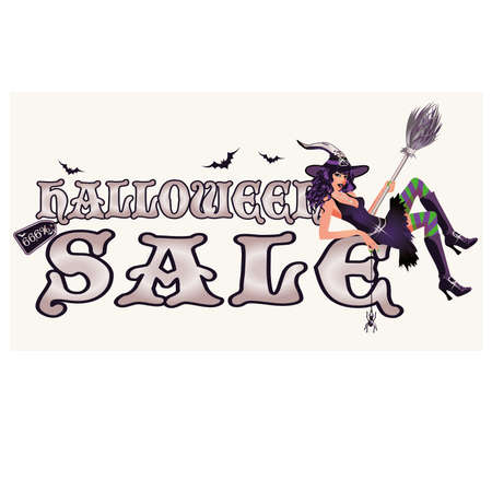 Halloween sale banner with sexy witch