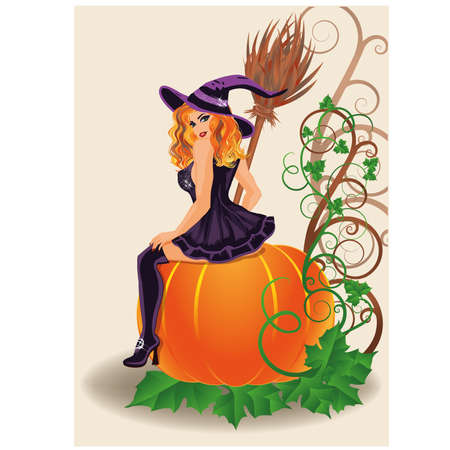 sexy witch: Happy Halloween sexy witch and pumpkin