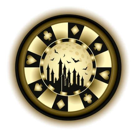 casino tokens: Halloween poker chip and castle, vector illustration  Illustration