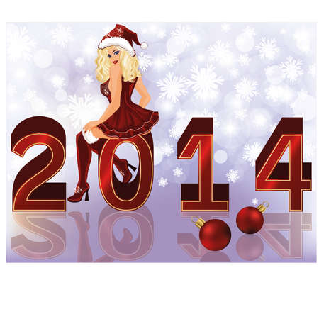 New 2014 Year background with sexy santa girl , vector illustration Vector