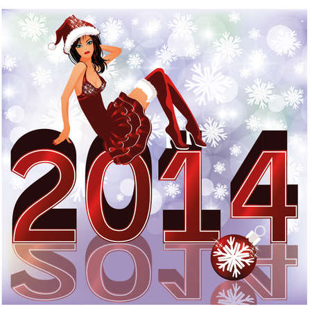 New 2014 Year card with sexy santa girl , vector illustration Vector