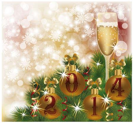 Gelukkig Nieuw 2014 Jaar wenskaart met champagne, vector illustration