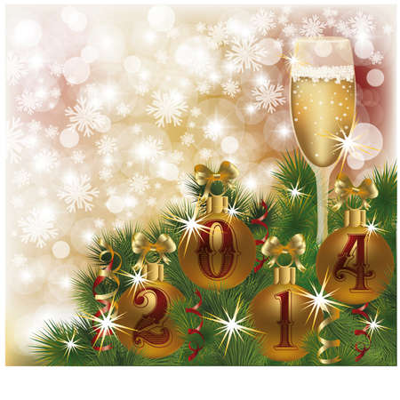 Happy New 2014 Year greeting card with champagne, vector illustration