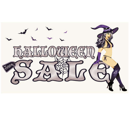 sexy witch: Halloween sale with young sexy witch, vector illustration