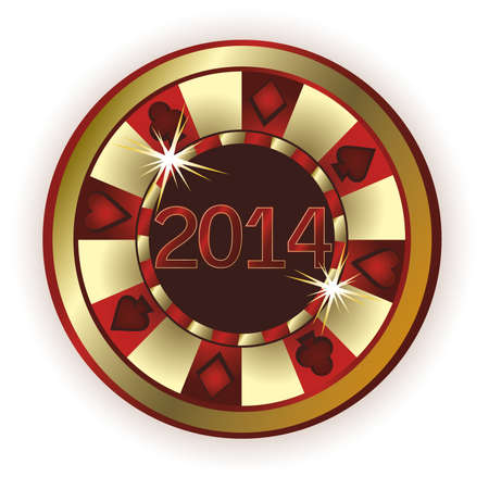 New 2014 Year Poker chip, vector illustration Vector