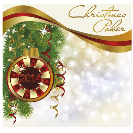 Christmas poker greeting card, vector illustration Vector