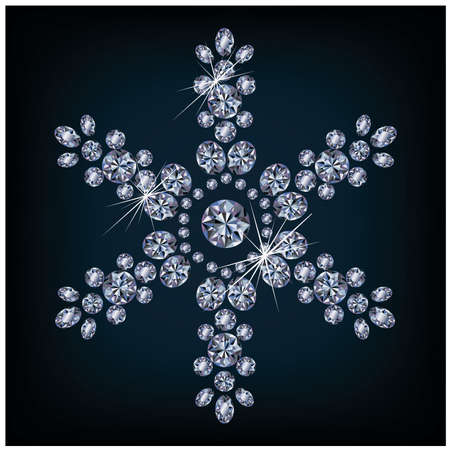 Diamond xmas snowflake card, vector illustration Vector