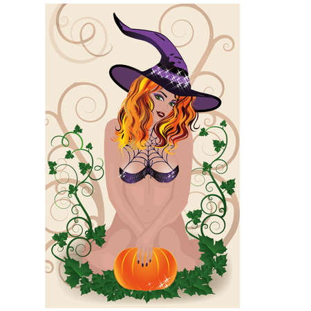 Sexy Halloween Witch card, vector illustration