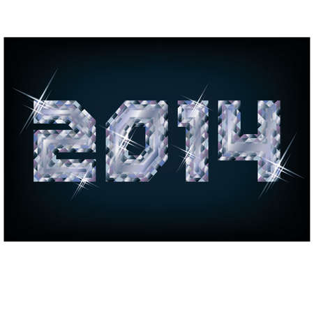 Brilliant 2014 New Year card, vector illustration Stock Vector - 23083637