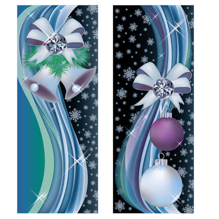 Two christmas greeting banners, vector illustration Vector