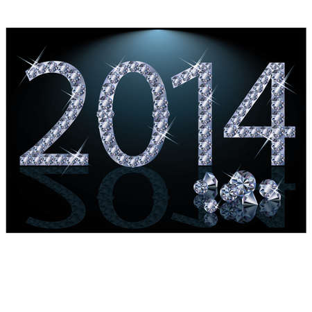 New 2014 Year with diamonds, vector illustration  Stock Vector - 23084972
