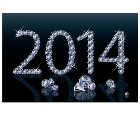 Diamond Happy New 2014 Year banner, vector illustration Vector