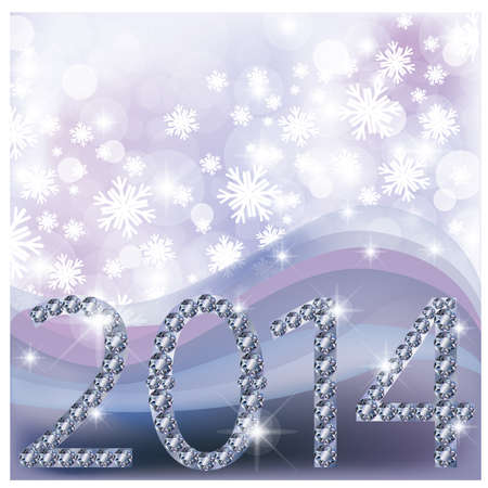 New 2014 Year card with diamonds, vector illustration Vector