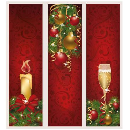 Three christmas banners, vector illustration  Vector