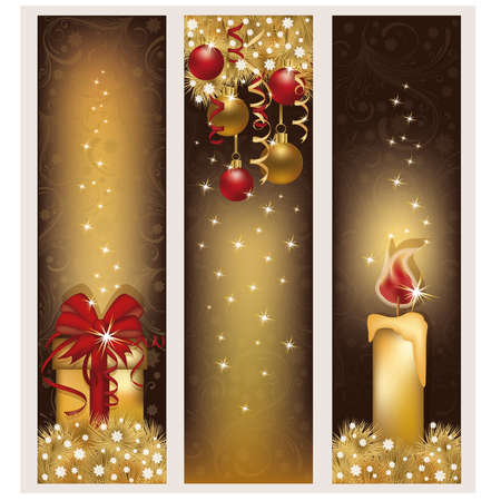 Drie Kerst gouden banners, vector illustratie