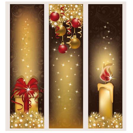 Three christmas golden banners, vector illustration  Illustration
