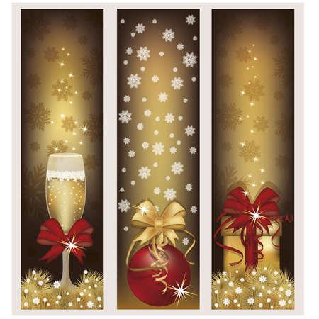Stel gouden kerst banners, vector illustratie