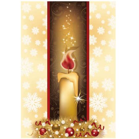 Elegant Christmas card with golden candle, vector illustration  Çizim