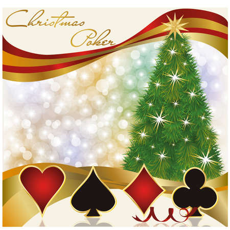 Christmas poker casino background, vector illustration Vector