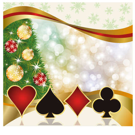 Christmas poker casino card, vector illustration Vector