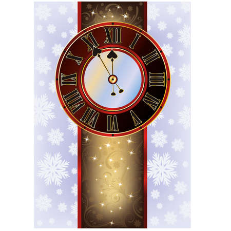 Elegant Christmas card with New Year clock, vector illustration Vector
