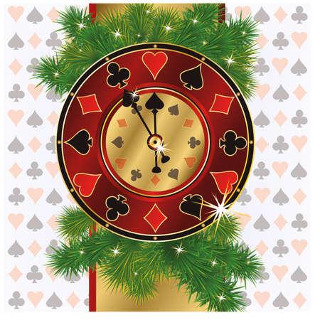 Christmas poker background, vector illustration Vector