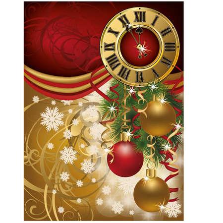 New Year invitation card with xmas clock, vector illustration Vector