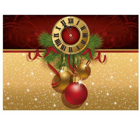 midnight hour: New Year greeting banner with xmas balls and clock, vector illustration Illustration