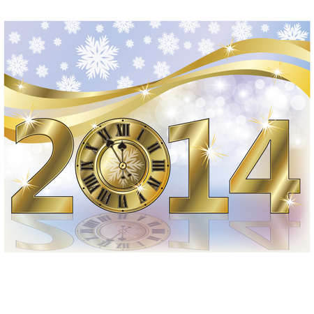 Golden New 2014 year banner, vector illustration