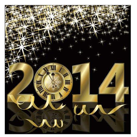 New 2014 Year golden card, vector illustration