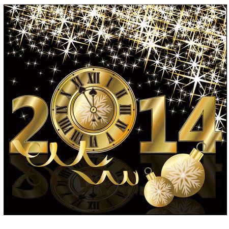 Gouden nieuw jaar 2014 kaart, vector illustratie Stock Illustratie