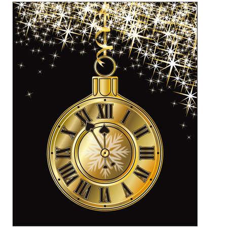 midnight hour: Golden Christmas clock, vector illustration