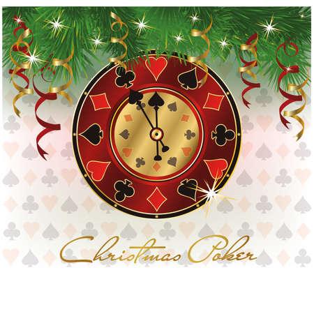 Casino Christmas Poker card, vector illustration  Vector