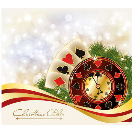 Christmas Poker greeting casino banner Vector