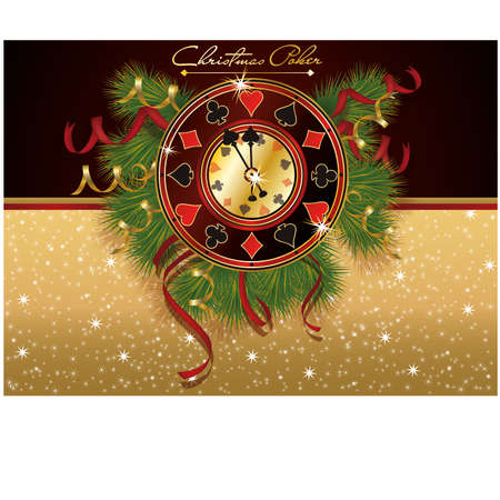 Christmas Poker casino banner, vector illustration Vector