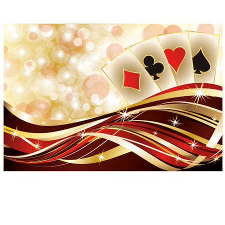 card game: Casino poker cards banner, vector illustration  Illustration