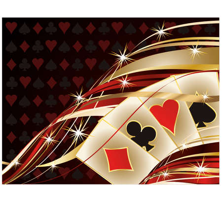 bet: Casino banner with poker cards, vector illustration