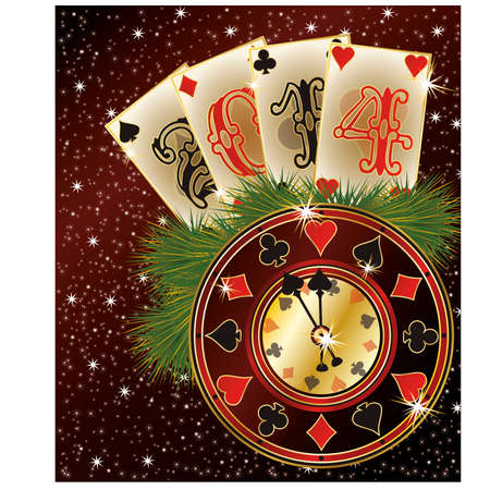 New 2014 Year poker style, vector illustration Vector
