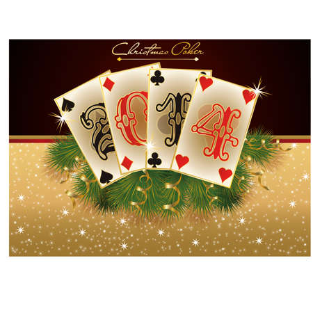 New 2014 casino year card with poker elements, vector  Vector