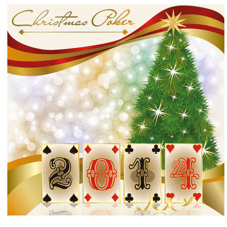 New 2014 poker year greeting card, vector illustration Vector