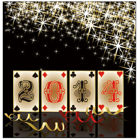 2014 Poker New Year background, vector  Vector
