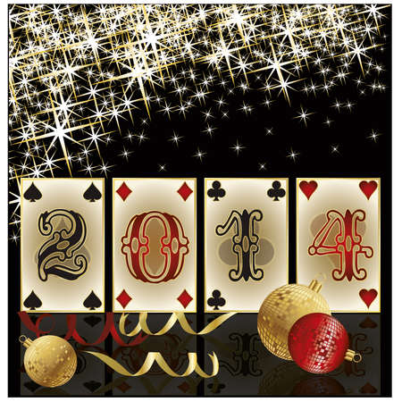 New 2014 Year poker style, casino greeting card , vector Vector