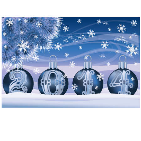 New 2014 Year banner with silver xmas balls, vector illustration Vector