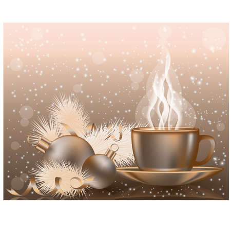Happy Christmas background with coffee cap, vector illustration Vector
