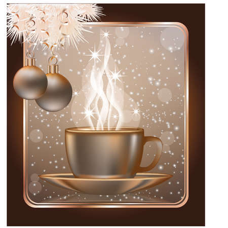 coffee tree: Happy Christmas greeting card with  coffe cap, vector illustration
