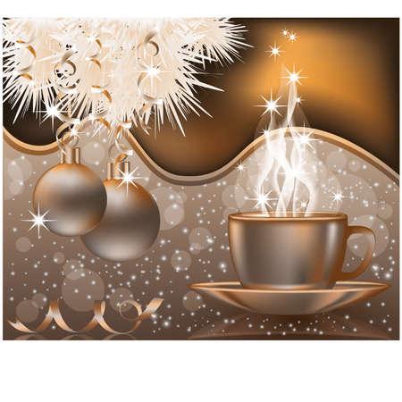 Happy Christmas kaart met Kerst ballen en koffie cap vector