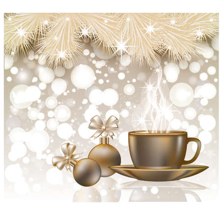 Happy Christmas Card With Xmas Balls And Coffee Cap Vector Royalty ...