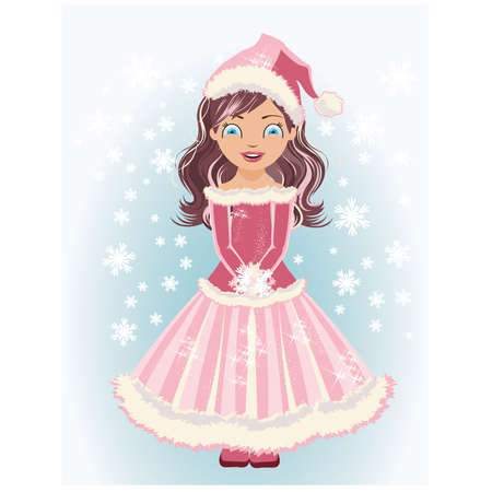 Cute Santa girl with snowflakes, vector illustration